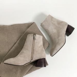 ショートブーツ レディース スエード ヒール サイドジップ 黒 ブラック ベージュ ローヒール ブーティ 太ヒール 靴 婦人靴 deciliter