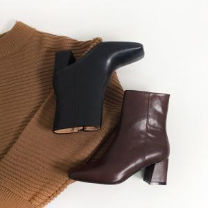 ショートブーツ レディース レザー ヒール サイドジップ 黒 ブラック ブラウン ローヒール ブーティ 太ヒール 靴 婦人靴 deciliter