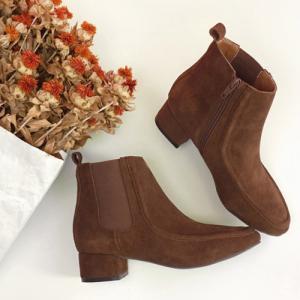 サイドゴア ショートブーツ レディース 牛革 レザー ヒール サイドジップ 黒 ブラック ブラウン ローヒール ブーティ 太ヒール 靴 婦人靴 deciliter