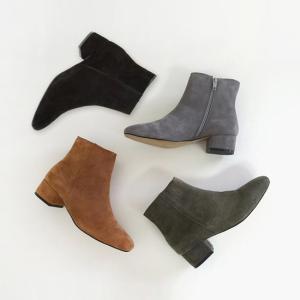 ショートブーツ レディース 牛革 ヒール サイドジップ 黒 ブラック ブラウン ローヒール ブーティ 太ヒール 靴 婦人靴 deciliter