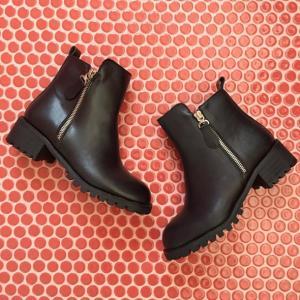 エンジニアブーツ ショートブーツ レディース サイドジップ ヒール  ブーティ 黒 ブラック  太ヒール 靴 婦人靴 deciliter