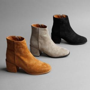 ショートブーツ レディース スエード ヒール 黒 ブラック ローヒール ブーティ 太ヒール 靴 婦人靴 安い deciliter