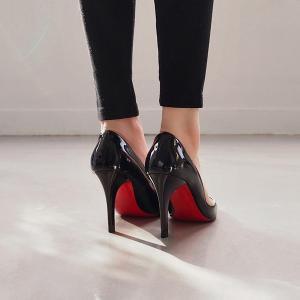 パンプス エナメル ポインテッドトゥ エナメル 黒 ブラック ベージュ レディースシューズ ハイヒール 婦人靴 痛くない レッドソール|deciliter|03