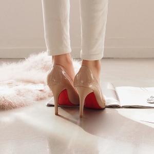 パンプス エナメル ポインテッドトゥ エナメル 黒 ブラック ベージュ レディースシューズ ハイヒール 婦人靴 痛くない レッドソール|deciliter|05