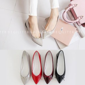 フラットシューズ パンプス リボン レディース ぺたんこ ペタンコ ポインテッドトゥ バレエシューズ 靴 婦人靴 黒 ブラック グレー レッド|deciliter