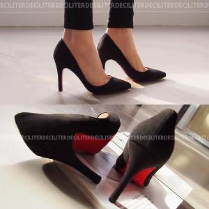 パンプス スエード  黒 ブラック ポインテッドトゥ レディースシューズ ハイヒール 婦人靴 痛くない 歩きやすい レッドソール deciliter
