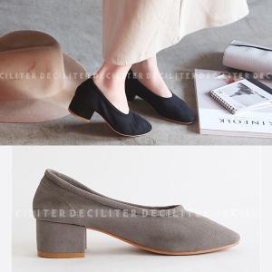パンプス スエード ヒール レディース バレエシューズ ラウンドトゥ 太ヒール ローファー 靴 婦人靴 黒 ブラック ベージュ グレー 歩きやすい 痛くない|deciliter
