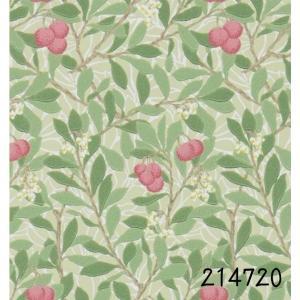 ウィリアムモリス 壁紙 アービュータス(Arbutus) グリーン 赤い実 草木柄   輸入品 輸入壁紙 MORRIS エレガント|decoall