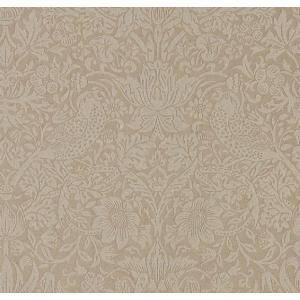 輸入壁紙 ウィリアムモリス PURE MORRIS ピュアモリス  いちご泥棒 茶 ベージュ ビーズ付き 216019 壁紙|decoall
