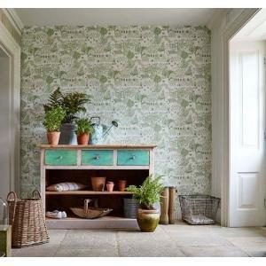 THE POTTING ROOM 216351 グリーン ホワイト 北欧 家庭菜園 風景 輸入壁紙 クロス 貼って剥がせる 10m巻 DIY |decoall