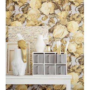 輸入壁紙 MASTERPIECE 花柄 ライトグレー 358004|decoall