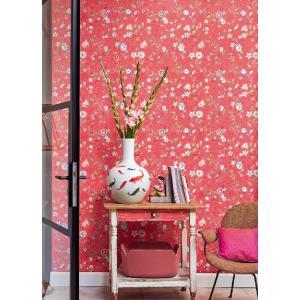 PIPSTUDIO4  375004 輸入壁紙 花 鳥 動物 昆虫 カラフル レッド 赤 DIY 貼ってはがせる オランダ製 10m巻|decoall