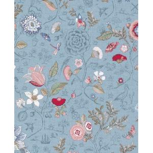 PIPSTUDIO4  375005 輸入壁紙 花 鳥 動物 昆虫 カラフル ブルー 青 DIY 貼ってはがせる オランダ製 10m巻|decoall