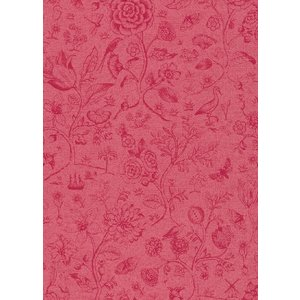 PIPSTUDIO4  375013 輸入壁紙 花 鳥 動物 昆虫 レッド 赤  DIY 貼ってはがせる オランダ製 10m巻|decoall