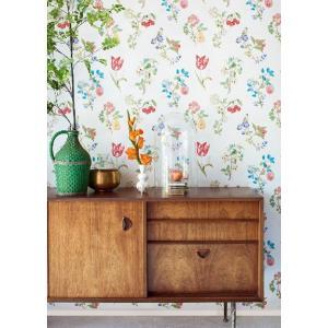 PIPSTUDIO4  375020 輸入壁紙 花柄 果物 小鳥 ホワイト DIY 貼ってはがせる オランダ製 10m巻|decoall