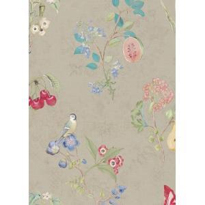 PIPSTUDIO4  375021 輸入壁紙 花柄 果物 小鳥 ベージュ DIY 貼ってはがせる オランダ製 10m巻|decoall