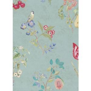 PIPSTUDIO4  375022 輸入壁紙 花柄 果物 小鳥 ブルー DIY 貼ってはがせる オランダ製 10m巻|decoall