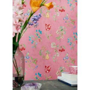 PIPSTUDIO4  375023 輸入壁紙 花柄 果物 小鳥 ピンク DIY 貼ってはがせる オランダ製 10m巻|decoall