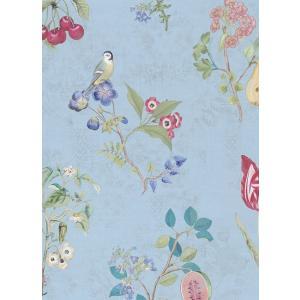 PIPSTUDIO4  375024 輸入壁紙 花柄 果物 小鳥 ブルー DIY 貼ってはがせる オランダ製 10m巻|decoall