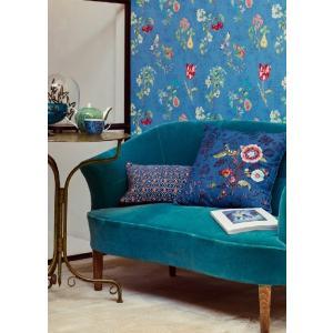 PIPSTUDIO4  375025 輸入壁紙 花柄 果物 小鳥 ブルー DIY 貼ってはがせる オランダ製 10m巻|decoall