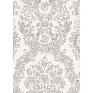 PIPSTUDIO4  375040 輸入壁紙 花柄 レース ダマスク ホワイト 白 DIY 貼ってはがせる オランダ製 10m巻|decoall