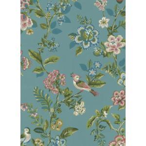 PIPSTUDIO4  375062 輸入壁紙 花 鳥 ブルー 青 ボタニカル  DIY 貼ってはがせる オランダ製 10m巻|decoall