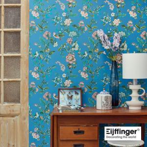 PIPSTUDIO4  375066 輸入壁紙 花 鳥 ブルー 青 ボタニカル  DIY 貼ってはがせる オランダ製 10m巻|decoall