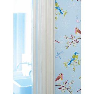 PIPSTUDIO4  375081 輸入壁紙 花 鳥 蝶 昆虫  ブルー 水色  DIY 貼ってはがせる オランダ製 10m巻|decoall
