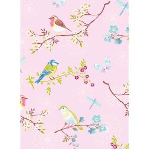 PIPSTUDIO4  375082 輸入壁紙 花 鳥 蝶 昆虫  ピンク  DIY 貼ってはがせる オランダ製 10m巻|decoall