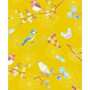 PIPSTUDIO4  375083 輸入壁紙 花 鳥 蝶 昆虫  イエロー 黄色  DIY 貼ってはがせる オランダ製 10m巻|decoall