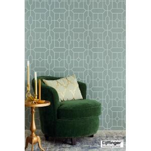 輸入壁紙  FUSION 382511  テシード 幾何学 ミントグリーン グレー  国内在庫品 クロス はがせる 10m巻 壁紙 |decoall