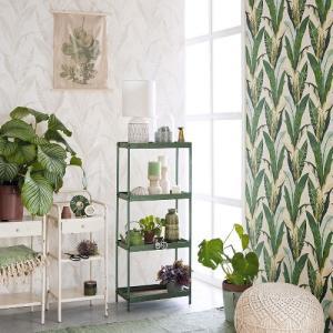 輸入壁紙  FUSION 384500  テシード バナナリーフ 葉 グリーン  オリエンタル 国内在庫品 クロス はがせる 10m巻 壁紙 |decoall