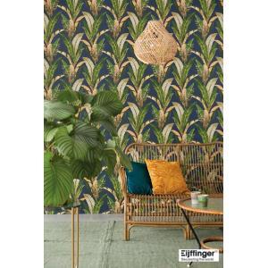 輸入壁紙  FUSION 384504  テシード バナナリーフ 葉 グリーン  ネイビー オリエンタル 国内在庫品 クロス はがせる 10m巻 壁紙 |decoall