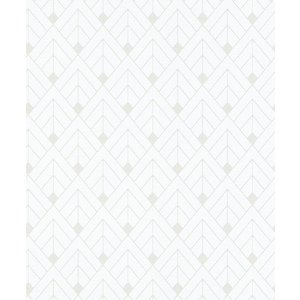 rasch 2020 輸入壁紙 403329 ホワイト 白 シルバー 幾何学 和風 和柄 ふすま クロス 10m巻 DIY はがせる ドイツ製  国内在庫品|decoall
