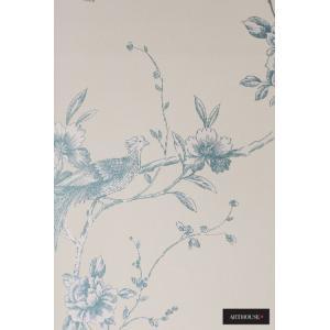 輸入壁紙 Chinoise(425003)シノワズリ ブルー 花鳥柄 イギリス製 10m クロス |decoall