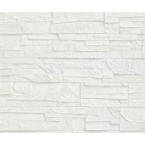 輸入壁紙 rasch2019 ラッシュ   白 ホワイト 石タイル柄  国内在庫品 475005  クロス 10m DIY ドイツ製|decoall