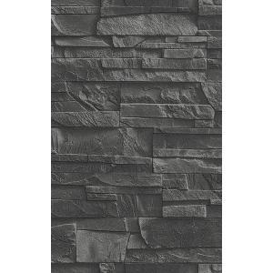 輸入壁紙 rasch2019 ラッシュ   黒 石タイル柄  国内在庫品 475036  クロス 10m DIY ドイツ製|decoall
