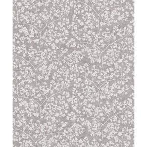 rasch 2020 輸入壁紙 490558 グレー ホワイト 葉っぱ 北欧 ノルディック クロス 10m巻 DIY はがせる ドイツ製  国内在庫品|decoall