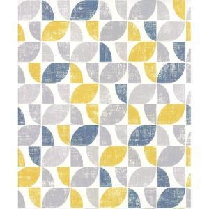 rasch 2020 輸入壁紙 519846 イエロー ブルー ホワイト 幾何学 クロス 10m巻 DIY はがせる ドイツ製  国内在庫品|decoall