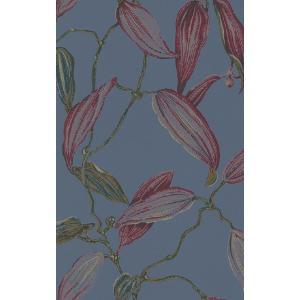 rasch 2020 輸入壁紙 525748 ブルーグレー レッド 赤 花 植物 クロス 10m巻 DIY はがせる ドイツ製  国内在庫品|decoall