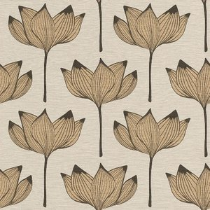 rasch 2020 輸入壁紙 530919 ゴールド ベージュ 花柄 和風 和柄 ふすま クロス 10m巻 DIY はがせる ドイツ製  国内在庫品|decoall