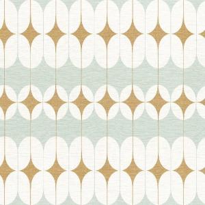 rasch 2020 輸入壁紙 531121 ミントグリーン ホワイト 白 ゴールド 金 幾何学 北欧 クロス 10m巻 DIY はがせる ドイツ製  国内在庫品|decoall