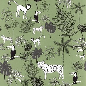 rasch 2020 輸入壁紙 531817 グリーン 緑 動物 アニマル クロス 10m巻 DIY はがせる ドイツ製  国内在庫品|decoall