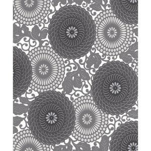 rasch 2020 輸入壁紙 759020 ホワイト 白 グレー 花柄 和風 和柄 ふすま クロス 10m巻 DIY はがせる ドイツ製  国内在庫品|decoall