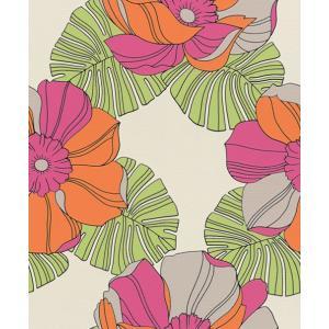 輸入壁紙 rasch2019 ラッシュ レトロ 花柄 カラフル オレンジ×ピンク×緑 国内在庫品 804911 クロス 10m DIY ドイツ製|decoall