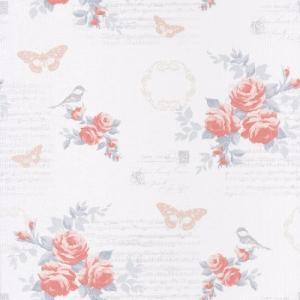 輸入壁紙   ASHLEY  69334090 フランス製 海外取り寄せ品 ピンク 朱色 バラ 花柄 53cm×10m   ローラアシュレイ風|decoall