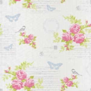 輸入壁紙  フランス製 花柄 ピンク バラ 53cm×10m巻 ASHL69334275 ローラアシュレイ風 エレガント|decoall