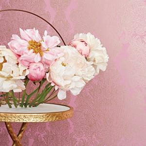 輸入壁紙 ANNA FRENCH メタリックダマスク柄 ピンク ゴールド AT6103|decoall