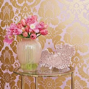 輸入壁紙 ANNA FRENCH メタリックダマスク柄 ピンク ゴールド AT6131|decoall