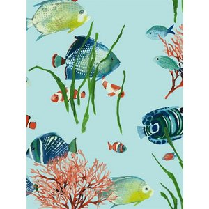 輸入壁紙 魚柄ブルー ASHFORDTROPICS AT7003|decoall